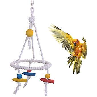Vtáčia hojdačka vyrobená z bavlneného lana so stojanom