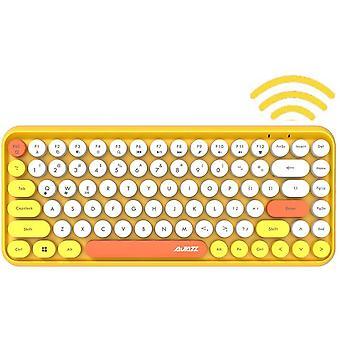 The Wireless Bluetooth Keyboard Is Mini Portable With 84 Keys, The Keyboard Is Compatible With Android, Windows, Pc, Tablet-dark, (308i-yellow)