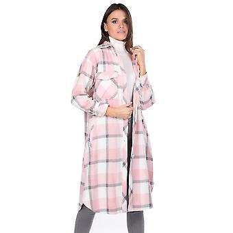 plaid oversize lang rosa kvinners skjorte jakke
