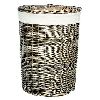 Lavagem antiga pequena redondo cesta de lavanderia