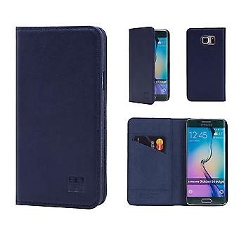 32e klassieke echte lederen portemonnee voor Samsung Galaxy S6 Edge G925 - marineblauw