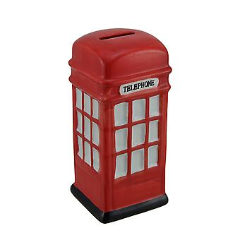 Retro Red Ceramic British Phone Booth Coin Bank