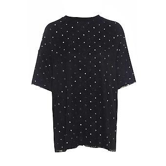 Savida Oversize Lace and Polka Dot T-Shirt UK SIZE S