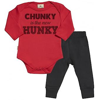 Spoilt Rotten Chunky New Hunky Babygrow & Jersey Trousers Outfit Set