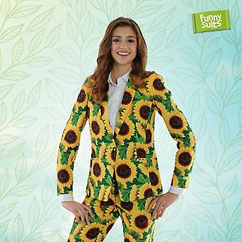 Sunflower ladies suit flowers sunflower Green 2-piece costume deluxe EU SIZES
