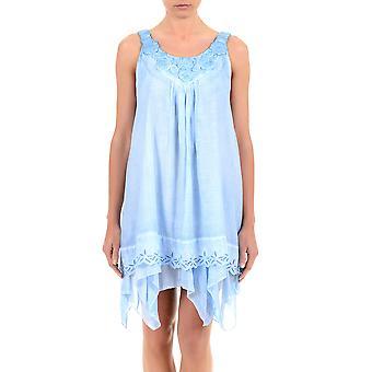 Iconique Azzurro blå bomuld ærmeløse strand kjole 621-KO
