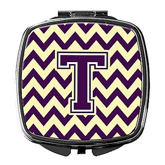 Carolines Treasures  CJ1058-TSCM Letter T Chevron Purple and Gold Compact Mirror
