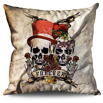 Love Forever Metal Skull Linen Cushion 30cm x 30cm | Wellcoda