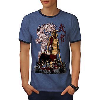 Japanin Dragon susi miehet Heather musta / NavyRinger t-paita | Wellcoda