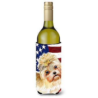 Morkie Patriotic Wine Bottle Beverge Insulator Hugger