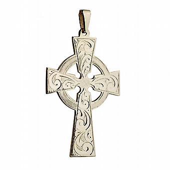 9ct золота 55x36mm ручной гравировкой кельтский крест с залог