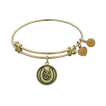 "Smooth Finish Brass Lucky Horseshoes Angelica Bangle Bracelet, 7.25"""