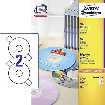 Etiquetas de CD Avery Zweckform L6043-100 Ø 117 mm papel blanco 200 PC tinta opaca permanente, Laser