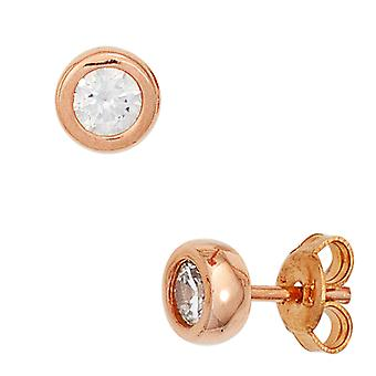 Earrings approximately 925 sterling silver red gold plated 2 cubic zirconia earrings silver