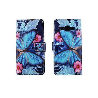 Mobiele telefoon geval zakje voor mobiele Samsung Galaxy J3 blauwe vlinder
