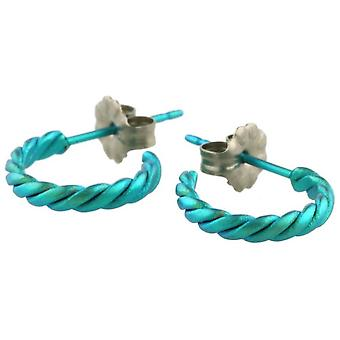 Ti2 Titanium Small Twisted Hoop Earrings - Kingfisher Blue