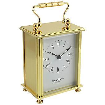 David Peterson Flat Brass Carriage Clock - Gold