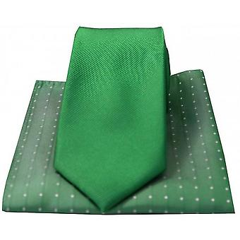 David Van Hagen Ribbed Tie and Polka Dot Handkerchief Set - Green