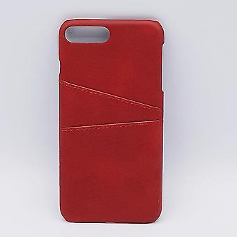 Voor iPhone 6 Plus- kunstlederen back cover / wallet - rood