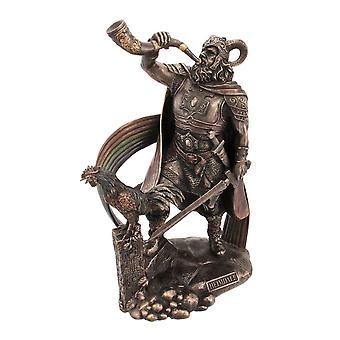 9 1/2 Inch Norse God Heimdall Bronzed Finish Statue Pagan