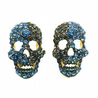 Unheimlich Skull Ohrringe Saphir-blauen Kristallen-Ohrringe