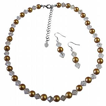 Wedding Party Jewelry Faux Champagne Pearls Chinese Clear Crystals