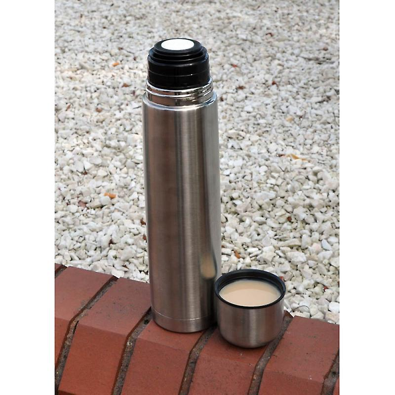 Kingfisher Stainless Steel Metal Vacuum Flask Push Button Open Close Stopper Screw on Cup Lid Capacity 1 Litre (1000ml)