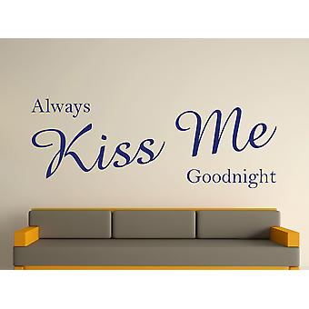 Baiser toujours moi bonne nuit Wall Art autocollants - Ultra Blue