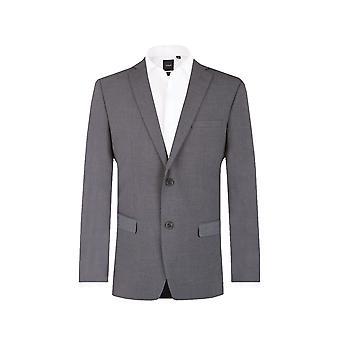 Dobell Mens Grey Sharkskin Suit Jacket Tailored Fit Notch Lapel