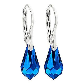 Элементы Сваровски 11mm элегантный сапфир голубой Drop подвеска кристалла Серьги
