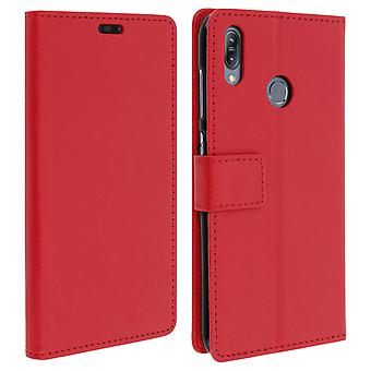 Flip wallet case, slim cover for Asus ZenFone Max M2 ZB633KL, silicone shell Red