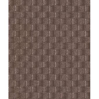3D Effect Leather Pattern Wallpaper Brown Metallic Gold Paste The Wall Vinyl