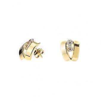 Eternity 9ct Gold 2 Cubic Zirconia Set 'V' Stud Boucles d'oreilles