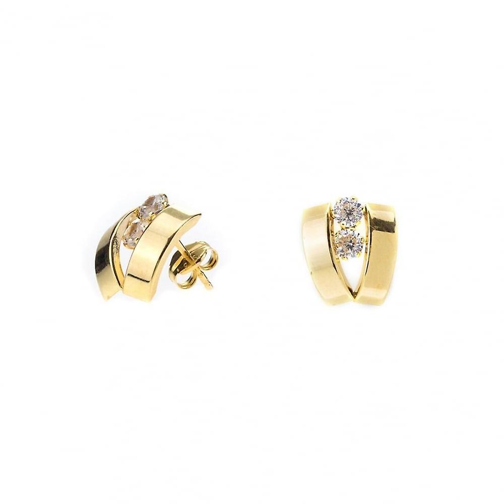 Eternity 9ct Gold 2 Cubic Zirconia Set 'V' Stud Earrings