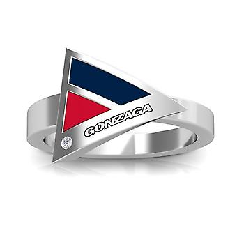 Gonzaga University Engraved Sterling Silver Diamond Geometric Ring In Blue and Red