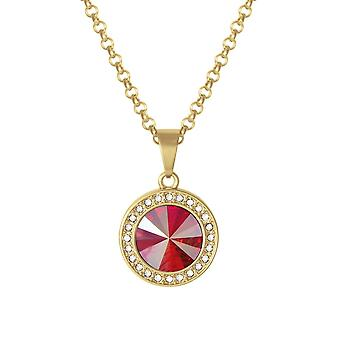 Eternal Collection Viva Red Shimmer Austrian Crystal Gold Tone Pendant