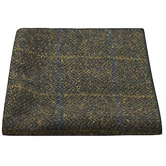 Luxus Juniper Green Fischgräten Check Tasche Platz, Taschentuch, Tweed