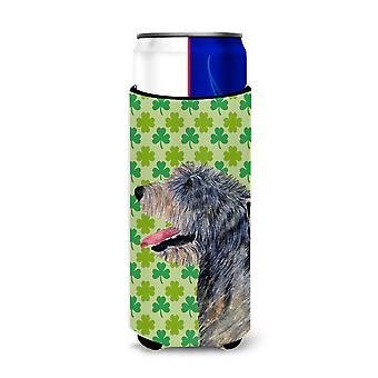 Irish Wolfhound St. Patrick's Day Shamrock Portrait Ultra Beverage Insulators fo