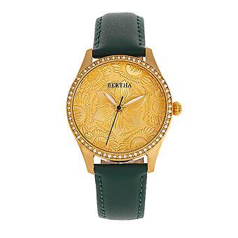Bertha Dixie kukka kaiverrettu nahka-Band Watch-ruskea