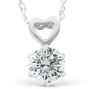1 / 2ct Solitaire diamant coeur pendentif 14k or blanc