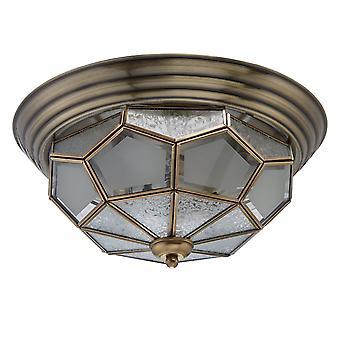 Glasberg  -  Brass Three Light Flush Fitting With Patterned Glass  397010403