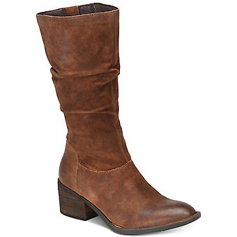 B.O.C Womens Peavy Leather Almond Toe Mid-Calf Cowboy Boots