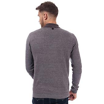 Mens Duck And Cover Cartwright Knit Polo Shirt In Charcoal- Long Sleeve- Ribbed