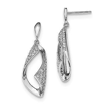 925 Sterling Silver Pave Rhodium plated and CZ Cubic Zirconia Simulated Diamond Fancy Dangle Post Earrings Jewelry Gifts
