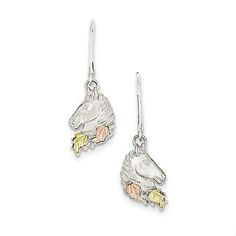 925 Sterling Silver Polished and satin and 12k Small Horsehead Leverback Earrings Jewelry Gifts for Women