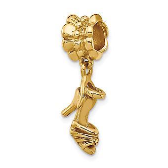 925 Sterling Argent Poli 14k Gold Plated Reflections High Heel Shoe Dangle Perle Charm Pendant Necklace Bijoux Cadeaux