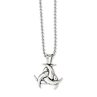 Stainless Steel Fancy Lobster Closure Polished and Celtic Knot 22inch Necklace 22 Inch Jewelry Gifts for Women