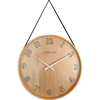 NeXtime - Wall clock- Ø 40 cm – Wood/Fabric – Black – 'Loop Big'