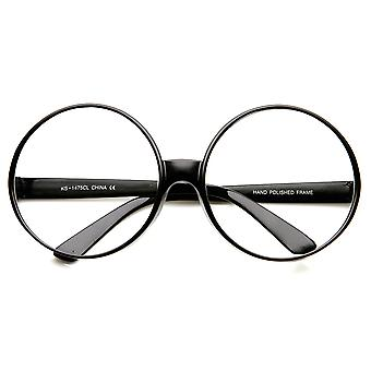 Super grande oversized grosso círculo moldura redonda clara óculos de lente