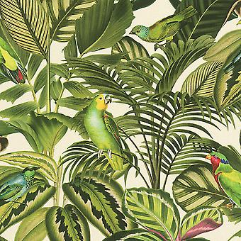 Freundin Tropical Parrot behang groen/crème Rasch 439533